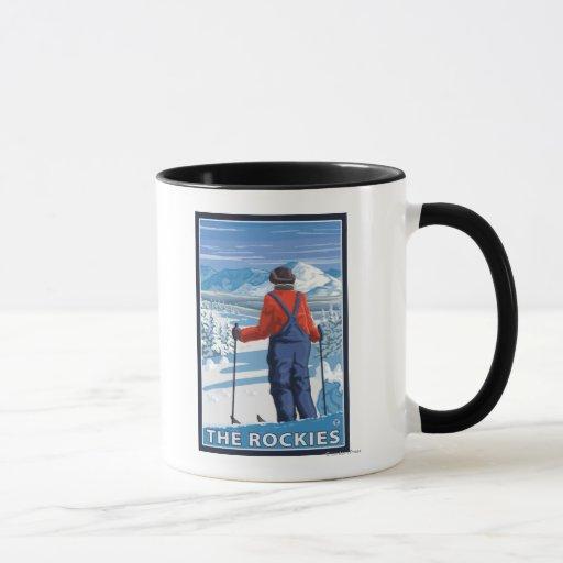 Skier Admiring - The Rockies