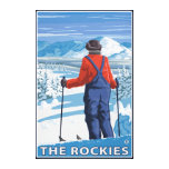 Skier Admiring - The Rockies Stretched Canvas Prints