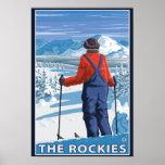 Skier Admiring - The Rockies Poster