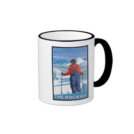 Skier Admiring - The Rockies Ringer Coffee Mug