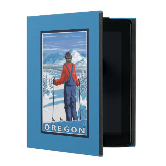 Skier Admiring- Vintage Travel Poster iPad Cover