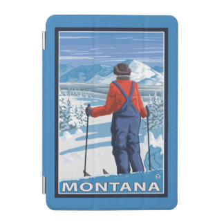 Skier AdmiringMontanaVintage Travel Poster iPad Mini Cover