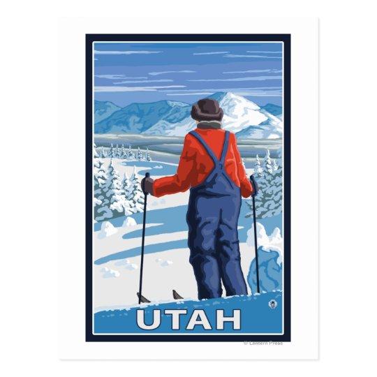 Skier AdmiringUtah Postcard