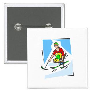 Skier 15 Cm Square Badge