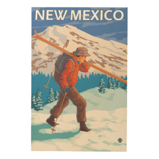Skier Carrying SkisNew Mexico Wood Wall Decor