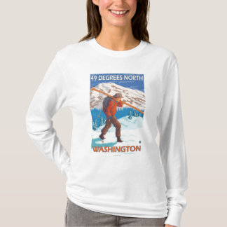 Skier Carrying Snow Skis - 49 Degrees North, T-Shirt