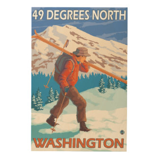Skier Carrying Snow Skis - 49 Degrees North, Wood Wall Decor