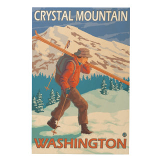 Skier Carrying Snow Skis - Crystal Mountain, WA Wood Wall Art
