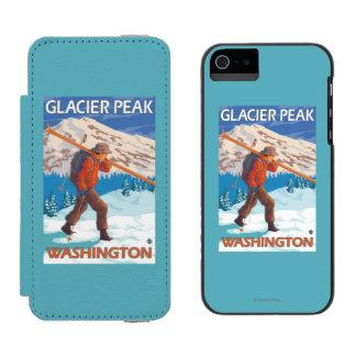 Skier Carrying Snow Skis - Glacier Peak, WA Incipio Watson™ iPhone 5 Wallet Case