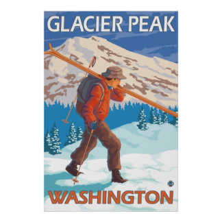 Skier Carrying Snow Skis - Glacier Peak, WA Poster