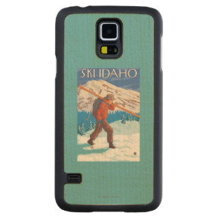 Skier Carrying Snow Skis - Idaho Carved Maple Galaxy S5 Case
