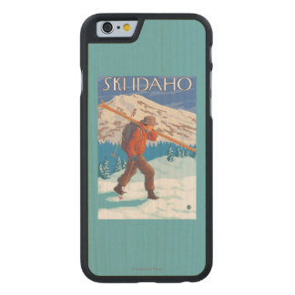 Skier Carrying Snow Skis - Idaho Carved® Maple iPhone 6 Slim Case