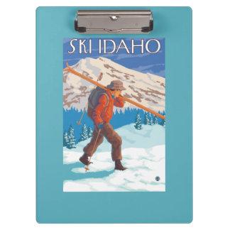 Skier Carrying Snow Skis - Idaho Clipboard
