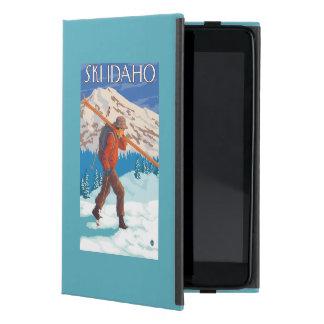 Skier Carrying Snow Skis - Idaho Cover For iPad Mini