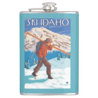 Skier Carrying Snow Skis - Idaho Hip Flask