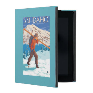 Skier Carrying Snow Skis - Idaho iPad Cover