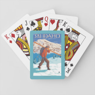 Skier Carrying Snow Skis - Idaho Poker Deck
