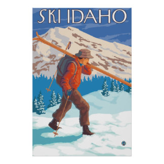 Skier Carrying Snow Skis - Idaho Poster