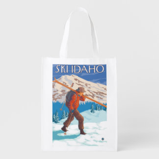 Skier Carrying Snow Skis - Idaho Reusable Grocery Bag