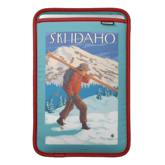 Skier Carrying Snow Skis - Idaho Sleeves For MacBook Air