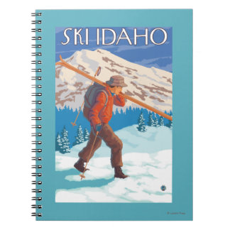 Skier Carrying Snow Skis - Idaho Spiral Notebook