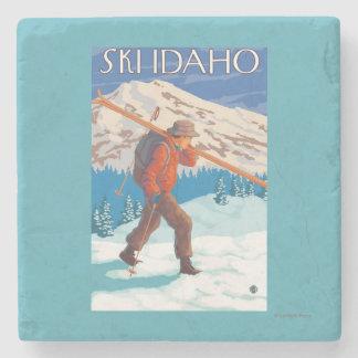 Skier Carrying Snow Skis - Idaho Stone Beverage Coaster