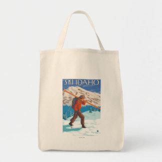 Skier Carrying Snow Skis - Idaho Tote Bag