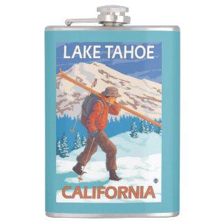 Skier Carrying Snow Skis - Lake Tahoe, Californi Hip Flask