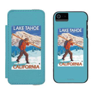 Skier Carrying Snow Skis - Lake Tahoe, Californi Incipio Watson™ iPhone 5 Wallet Case