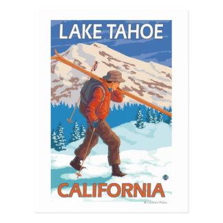 Skier Carrying Snow Skis - Lake Tahoe, Californi Postcard
