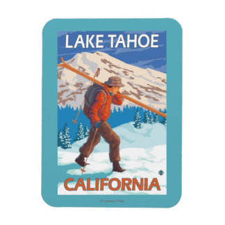 Skier Carrying Snow Skis - Lake Tahoe, Californi Rectangular Photo Magnet