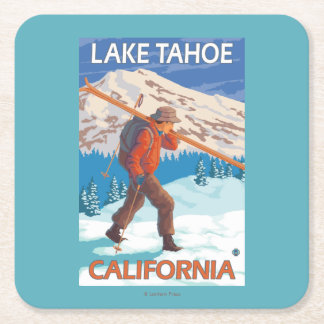 Skier Carrying Snow Skis - Lake Tahoe, Californi Square Paper Coaster