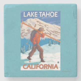 Skier Carrying Snow Skis - Lake Tahoe, Californi Stone Coaster