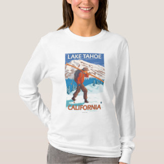 Skier Carrying Snow Skis - Lake Tahoe, Californi T-Shirt