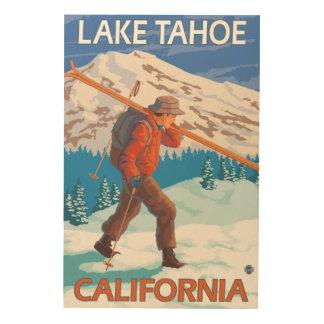 Skier Carrying Snow Skis - Lake Tahoe, Californi Wood Wall Decor