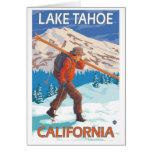 Skier Carrying Snow Skis - Lake Tahoe, California Card