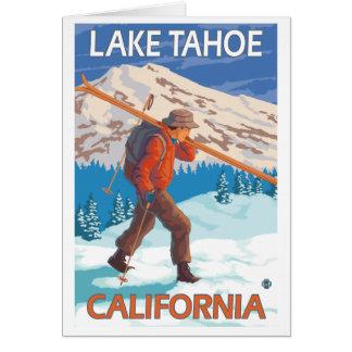 Skier Carrying Snow Skis - Lake Tahoe, California Note Card