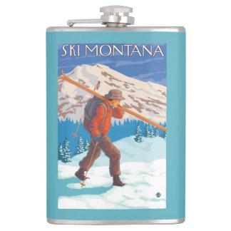 Skier Carrying Snow Skis - Montana Flasks