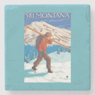 Skier Carrying Snow Skis - Montana Stone Coaster