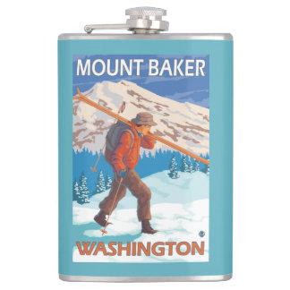 Skier Carrying Snow Skis - Mount Baker, WA Hip Flask
