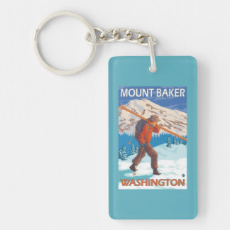 Skier Carrying Snow Skis - Mount Baker, WA Key Ring