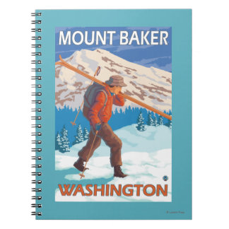 Skier Carrying Snow Skis - Mount Baker, WA Notebook