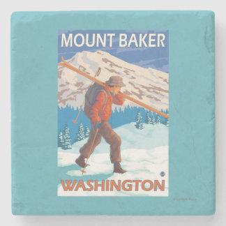 Skier Carrying Snow Skis - Mount Baker, WA Stone Beverage Coaster