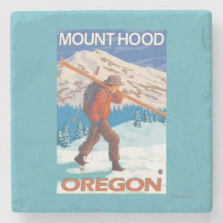 Skier Carrying Snow Skis - Mount Hood, OR Stone Coaster