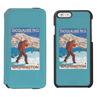 Skier Carrying Snow Skis - Snoqualmie Pass, WA Incipio Watson™ iPhone 6 Wallet Case