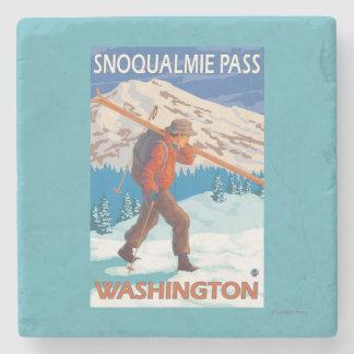 Skier Carrying Snow Skis - Snoqualmie Pass, WA Stone Coaster