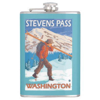 Skier Carrying Snow Skis - Stevens Pass, WA Flask