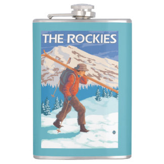 Skier Carrying Snow Skis - The Rockies Hip Flask