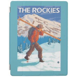 Skier Carrying Snow Skis - The Rockies iPad Cover
