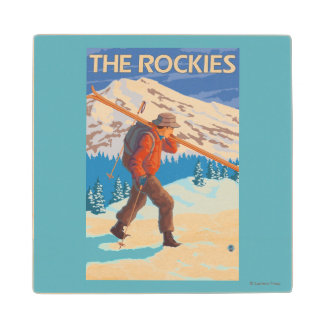 Skier Carrying Snow Skis - The Rockies Maple Wood Coaster